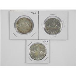 Lot (3) CAD Silver Dollars: 1950, 1959, 1960