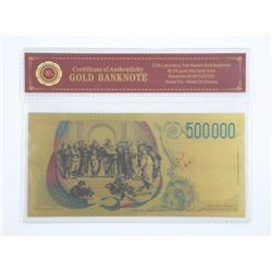 24kt Gold Leaf Banknote 500,000 Lire - Italy