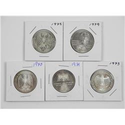 Lot (5) Silver German Coins