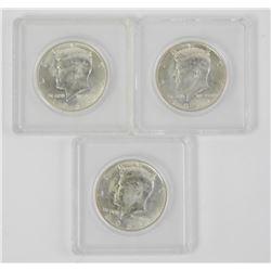 Lot (3) 1964 US Kennedy Half Dollar 90% Silver