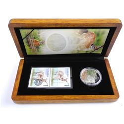 9.9 Fine Silver $5.00 Coin and Stamp set Deer and