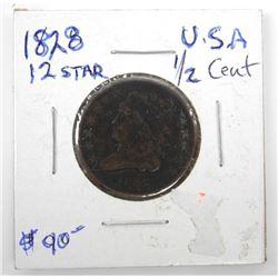 (LUN 21) 1828 USA 1/2 Cent 12 Star Coin (AR)