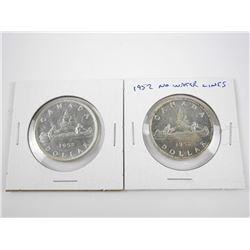 Lot (2) 1952 CAD Silver Dollars: RWL - NWL