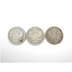 "Lot (3) Silver ""Russia"" 10 Kopeks Coin 1911, 191"