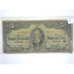 Provincial Bank of Canada 1936 $5.00/ French-Engli