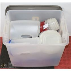 TOTE OF ASSORTED KITCHEN STORAGE & MORE