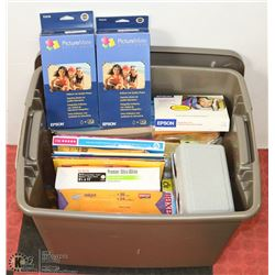 TOTE OF ASSORTED OFFICE SUPPLIES