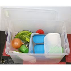 TOTE OF KITCHEN STORAGE ITEMS