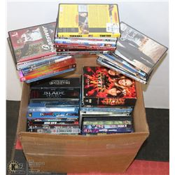 BOX OF ASSORTED BLURAY/DVDS/BOX SETS.