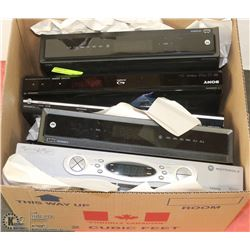 BOX OF DVD PLAYERS & CABLE BOXES
