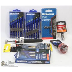 BAG OF NEW SOCKETS, MINI SCREWDRIVER SETS & MORE