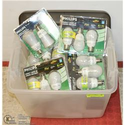 LOT OF ASSORTED PHILIPS LIGHT BULBS.