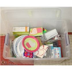 TOTE OF PARTY SUPPLIES, INCLUDES PLATES, UTENSILS