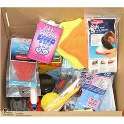 BOX OF ASSORTED HOUSEHOLD CLEANERS & ACCESSORIES