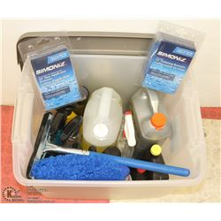 TOTE OF NEW AUTO CLEANING SUPPLIES