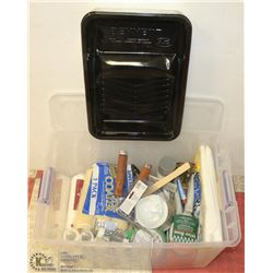 TOTE OF PAINTING SUPPLIES, INCLUDES ROLLERS, TRAYS