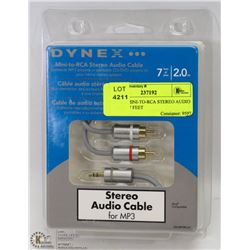 DYNEX MINI-TO-RCA STEREO AUDIO CABLE - 7 FEET
