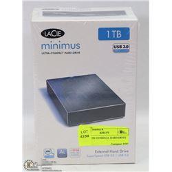 LACIE 1TB EXTERNAL HARD DRIVE USB-3.0