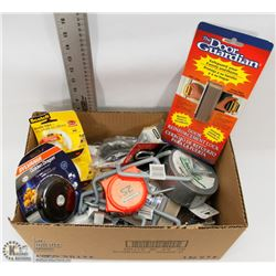 BOX OF ASSORTED HARDWARE INCLUDING SCOTCH TAPES,