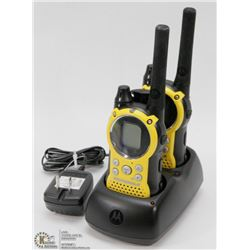 PAIR OF MOTOROLA WALKIE TALKIES WITH BASE CHARGER