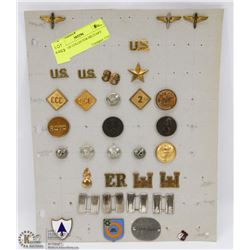 SHEET OF COLLECTOR MILITARY PINS