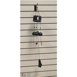 BUDDHA WIND CHIME W/ BLACK AND BRASS ACCENTS