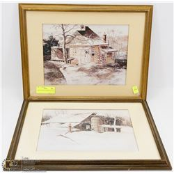 PAIR OF MATTED FRAMED PICTURES
