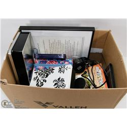 BOX OF ASSORTED FRAMES, TINS AND MORE