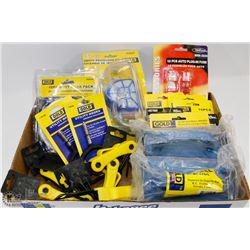 FLAT OF ASSORTED HARDWARE SAFETY EQUIP AND MORE