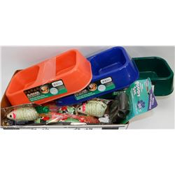 FLAT OF PET FOOD AND WATERBOWLS, PET TOYS AND MORE