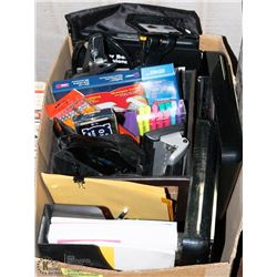 BOX LOADED WITH OFFICE/SCHOOL SUPPLIES