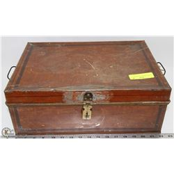 ANTIQUE HINGED TIN TRUNK