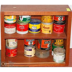 COLLECTION OF TOBACCO TINS WITH DISPLAY SHELF