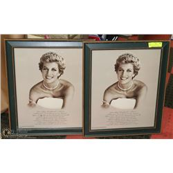 SET OF 2 LADY DI FRAMED COMMEMORATIVE PICTURES