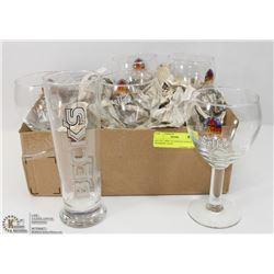 SET OF 7 MISC GLASSES & GOBLETS - HEINEKEN, LEFFE,