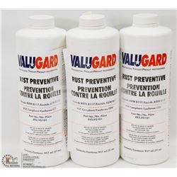 3 BOTTLES OF VALUEGUARD RUST PREVENTATIVE