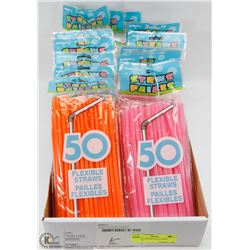 FLAT OF ASSORTED COLORED STRAWS