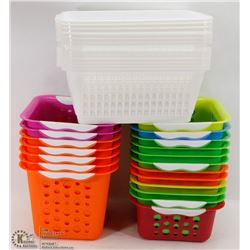 LARGE ASSORTMENT OF COLORED AND WHITE BASKETS