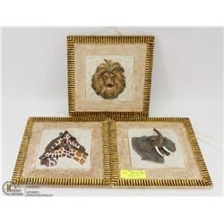 SET OF 3 CERAMIC 3D AFRICAN ANIMAL PICTURES -