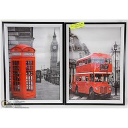 PAIR OF 3D FRAMED PICTURES - DOUBLE DECKER BUS