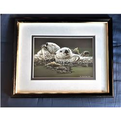 16)  FRAMED, DOUBLE MATTED UNDER
