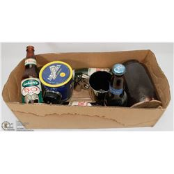 LOT OF COLLECTIBLE BOTTLES, TOBACCO TIN, REVOLVER
