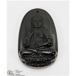 #27-NATURAL OBSIDIAN BUDDHA PENDANT