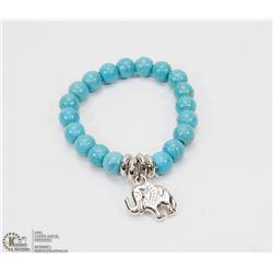 #34-NATURAL BLUE TURQUOISE BEAD ELEPHANT BRACELET