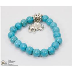 #33-NATURAL BLUE TURQUOISE BEAD ELEPHANT BRACELET