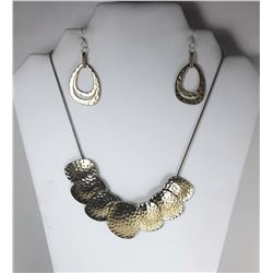 12 ) GOLD & SILVER TONED HAMMERED