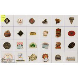 SHEET OF 24 CASINO PINS