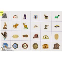 SHEET OF 24 GISH AND GAME WILDLIFE ETC PINS