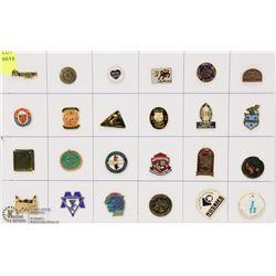 SHEET OF 24 ASSORTED SCHOOL PINS