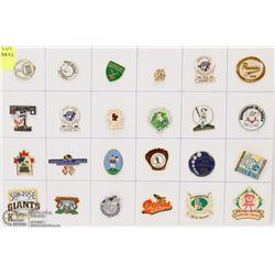 SHEET OF 24 BASEBALL PINS